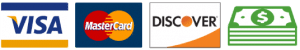 We Accept Visa, Master card, Discover and Cash